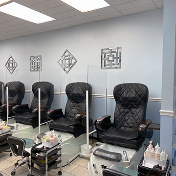 Spa pedicure chairs and plexiglass are sanitized with 70% alcohol after each use. One-time use tub liner are used and tubs are sanitized with medical grade sterilizer and alcohol after each use. UV sterilizing light, blue disinfectant tablets, and whirlpool are used in the tub during the service.